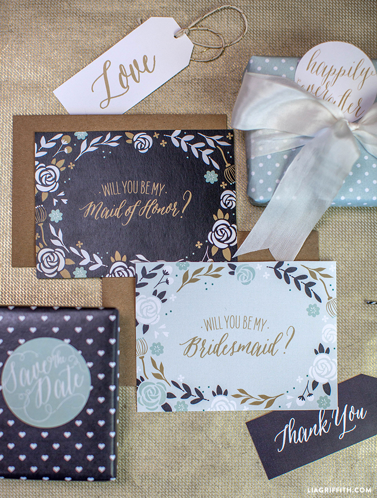 image regarding Printable Bridesmaid Cards referred to as Floral Bridesmaid Playing cards - Lia Griffith