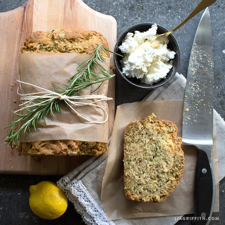 Lemon Rosemary Zucchini Bread Recipe - Lia Griffith