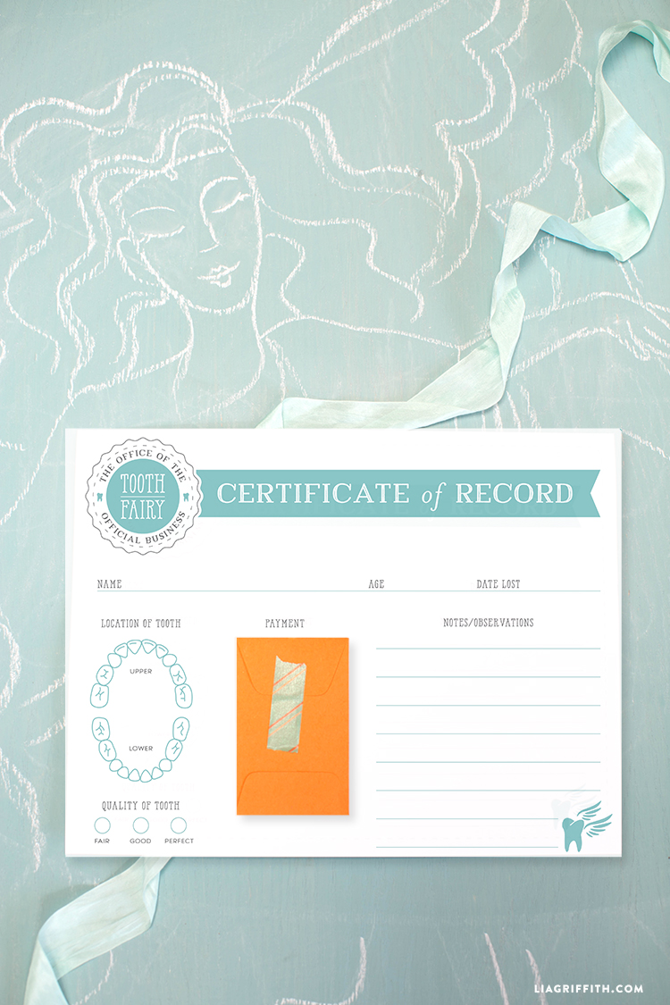 graphic relating to Printable Tooth Fairy Certificate identified as Printable Enamel Fairy Certification - Lia Griffith