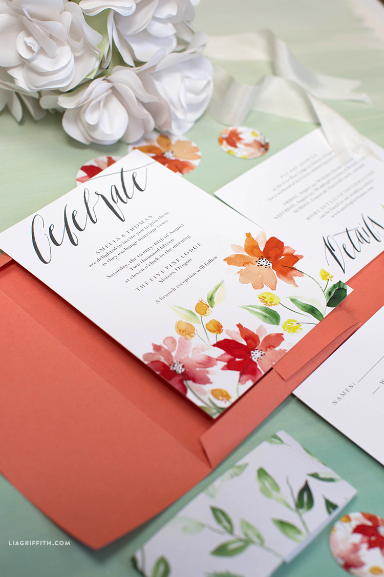 Watercolor Wedding Invitations - Lia Griffith