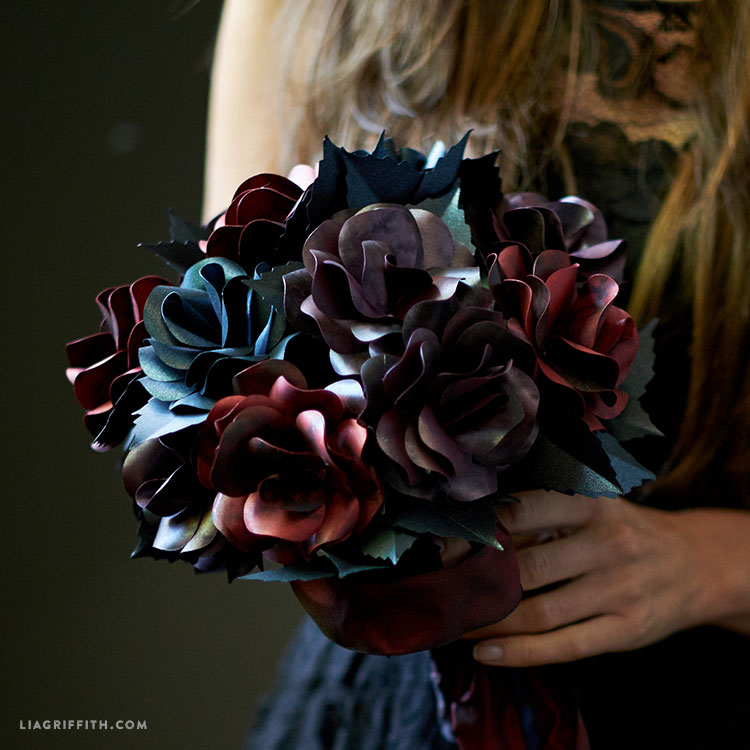 Black rose paper flower bouquet lia griffith mightylinksfo