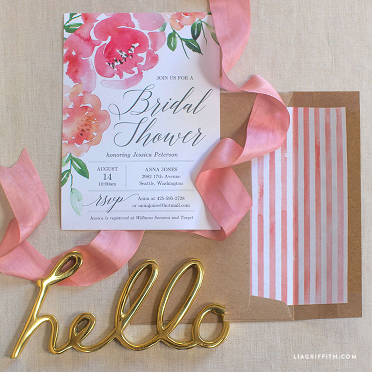 Watercolor peony bridal shower invitation lia griffith filmwisefo
