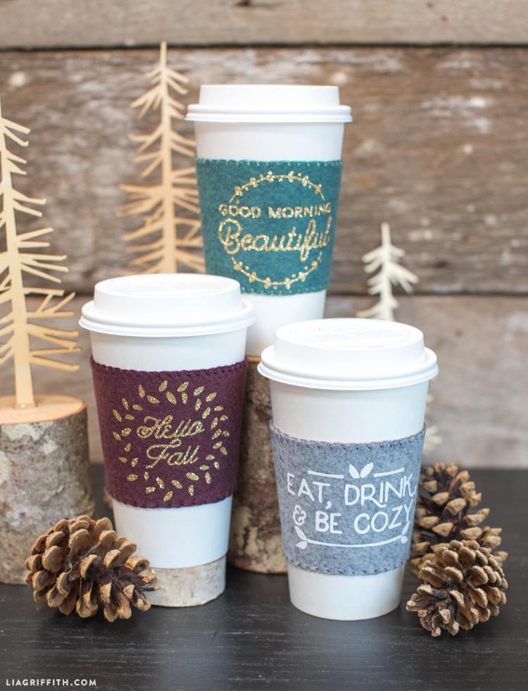 DIY Felt Fall Coffee Sleeves - Lia Griffith