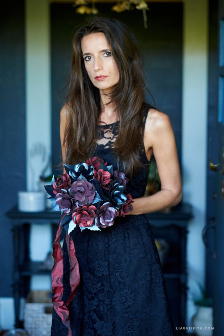 black rose paper flower bouquet lia griffith