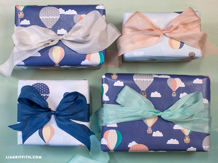 Hot Air Balloon Baby Shower Gift Wrap Lia Griffith