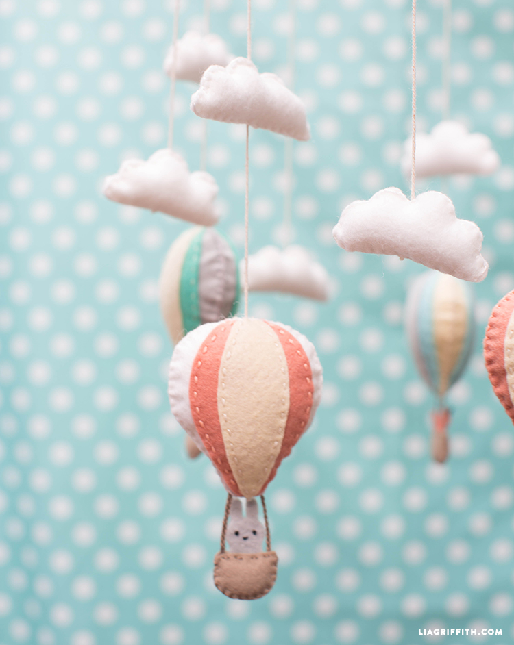 Hot air balloon baby mobile lia griffith for Diy felt flower mobile