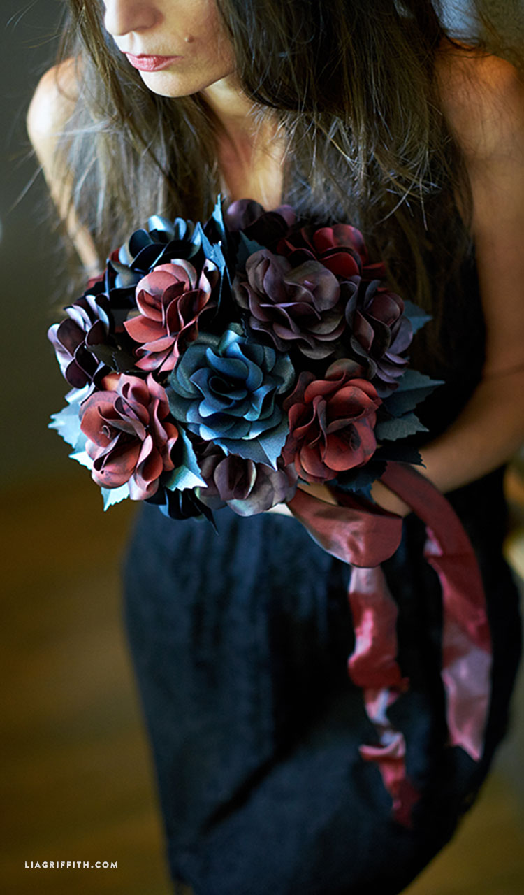Black Rose Paper Flower Bouquet Lia Griffith