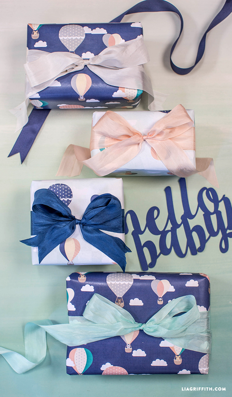 Hot Air Balloon Baby Shower Gift Wrap - Lia Griffith