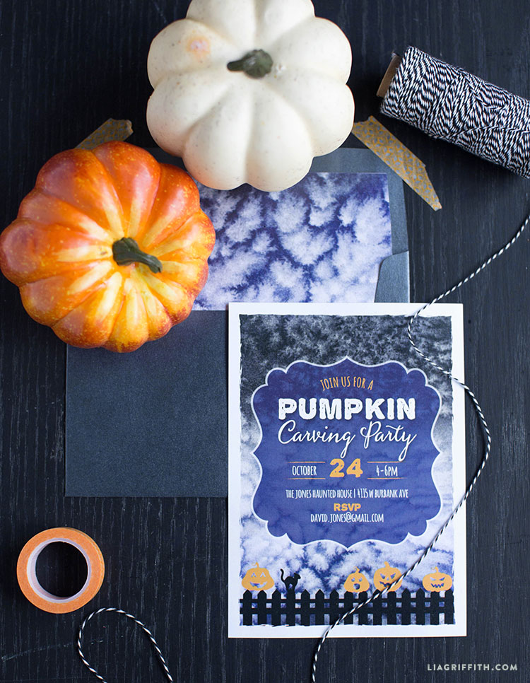 pumpkin carving party invitation lia griffith