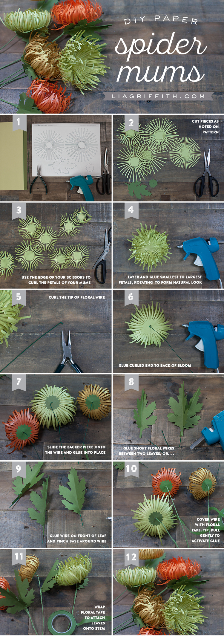 Paper Spider Mums for Fall - Lia Griffith