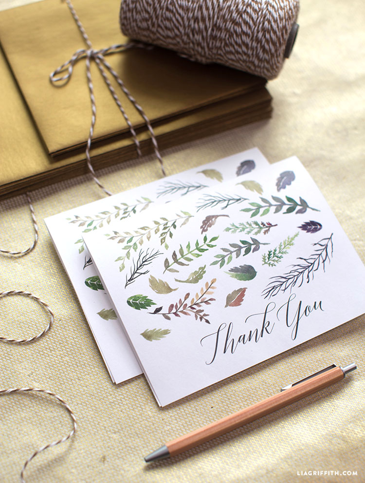 fall leaf watercolor thank you cards lia griffith