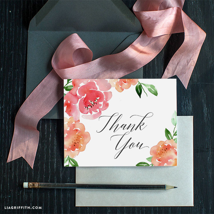 watercolor peony thank you card lia griffith