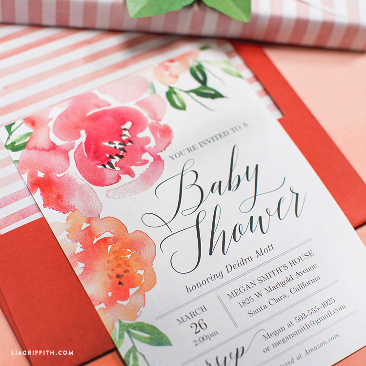 Watercolor Floral Baby Shower Invitation - Lia Griffith