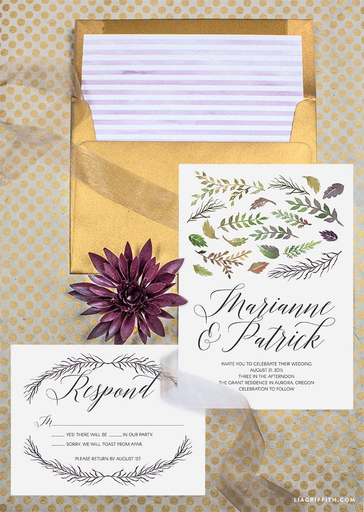 Watercolor Leaf Fall Wedding Invitations - Lia Griffith