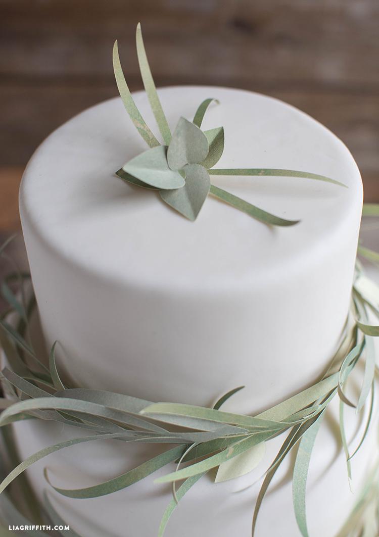 paper eucalyptus garland for your wedding cake