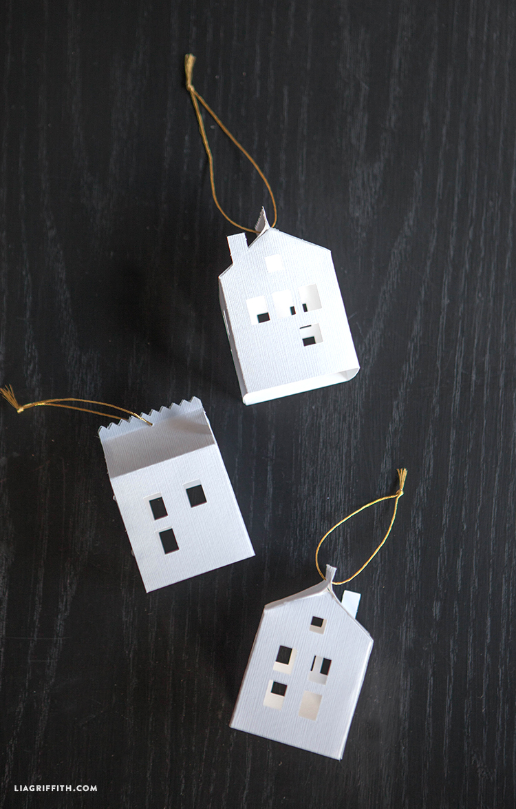 DIY Paper House Christmas Ornament - Lia Griffith