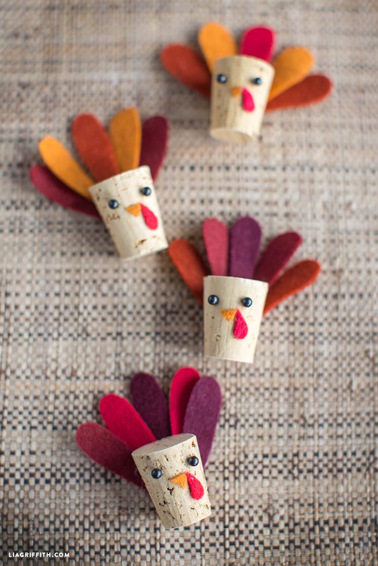 DIY Cork Felt Turkeys