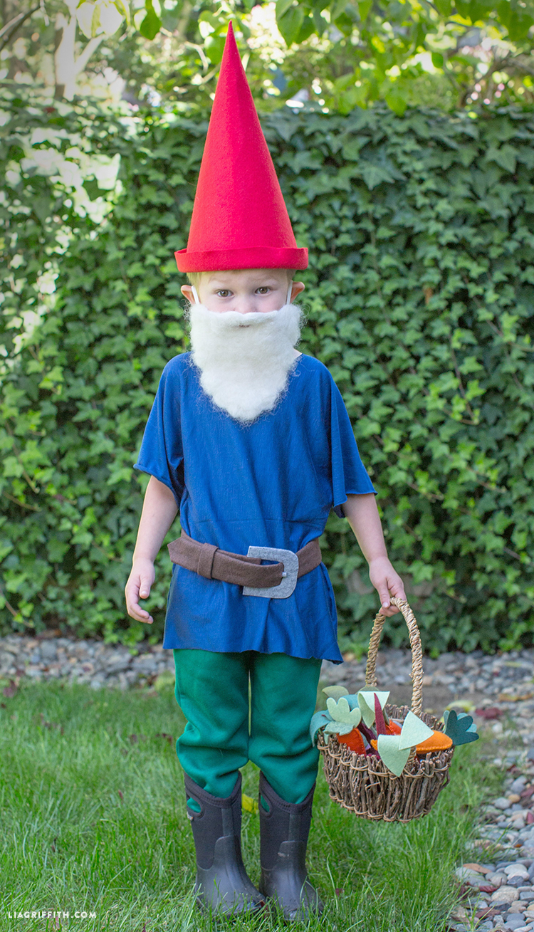 our diy gnome costume is the cutest halloween costume for the cheeky little elf in your life our no sew pattern is easy to put together using a low