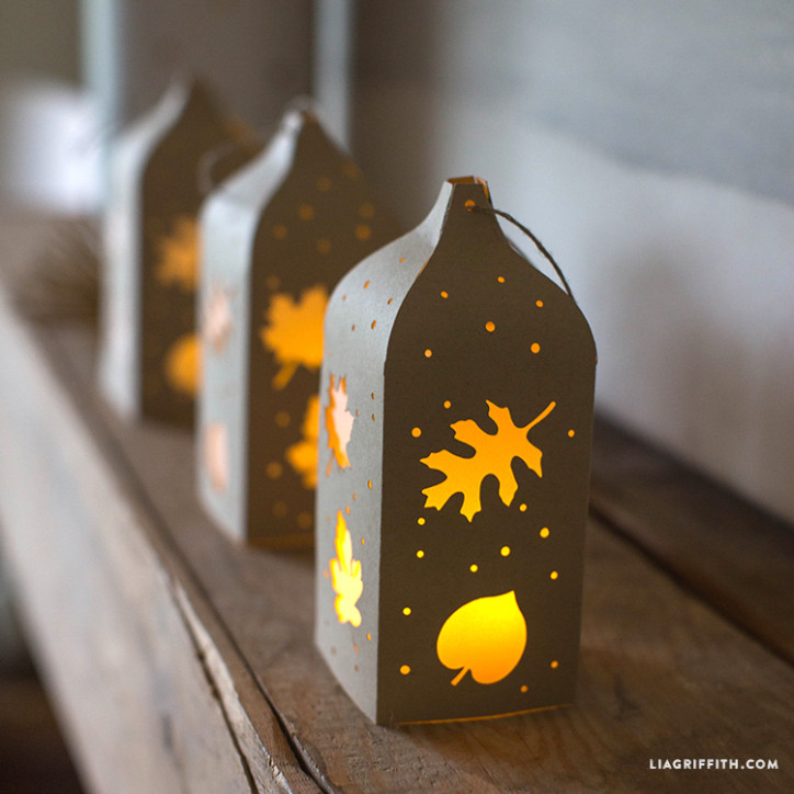 fall paper cut lanterns on mantel