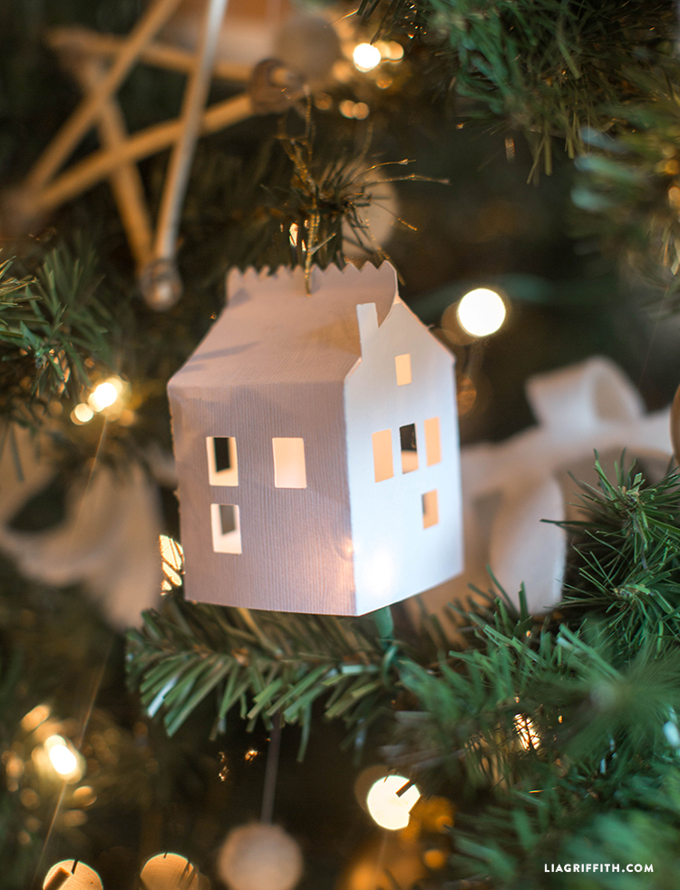 PaperHouseOrnamentsChristmasTree DIY Paper House Christmas Ornament