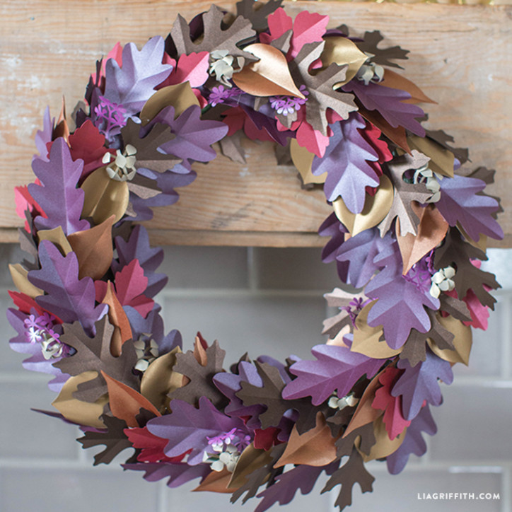 fall paper leaf wreath on mantel