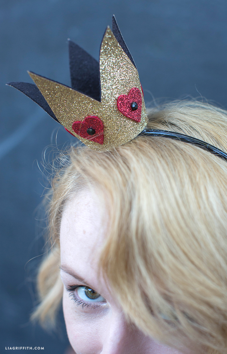 Woman wearing DIY Halloween crown