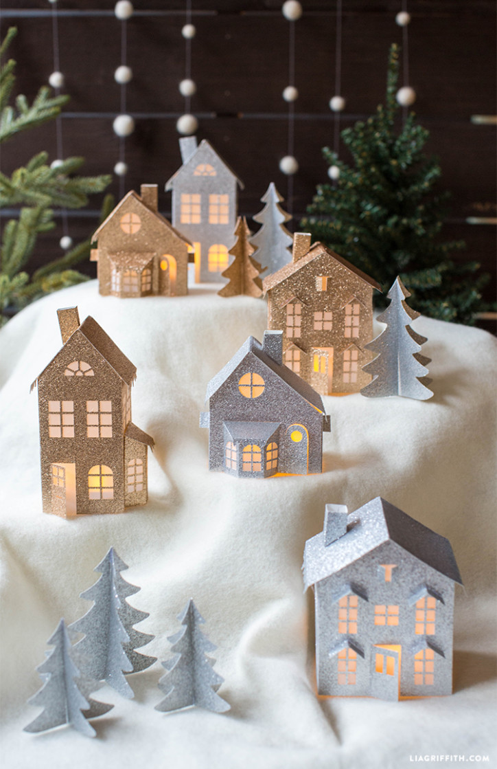 photo relating to Printable Christmas Village Template titled 3D Paper Xmas Village - Lia Griffith