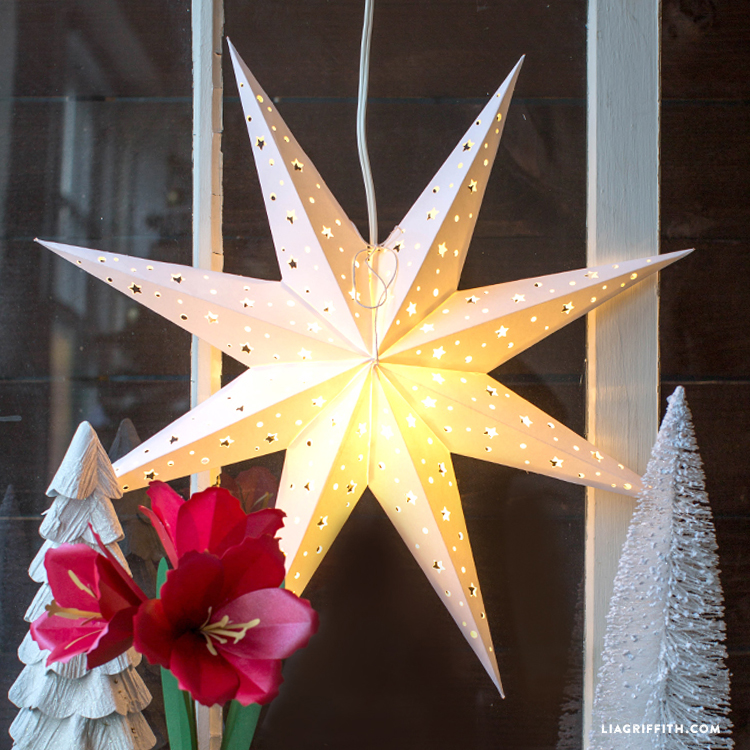 DIY Paper Star Window Decoration - Lia Griffith