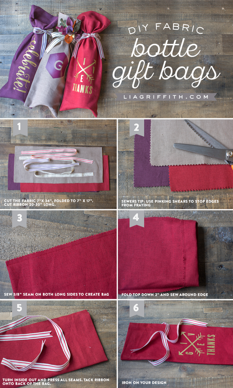 Photo tutorial for DIY fabric gift bags for bottles