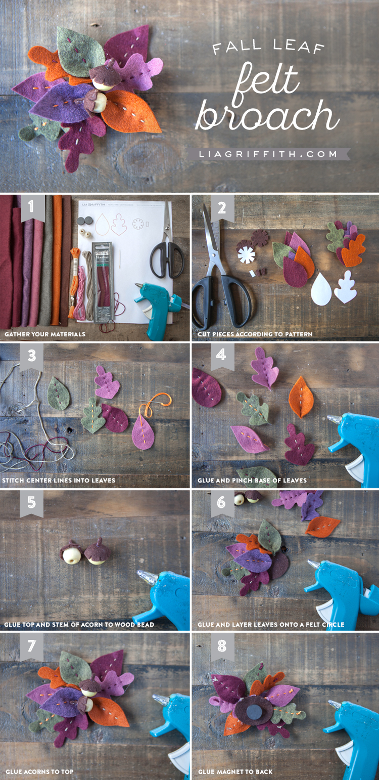 Photo tutorial for fall felt leaf brooch