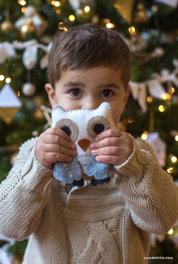 Little boy holding felt owl in front of Christmas tree