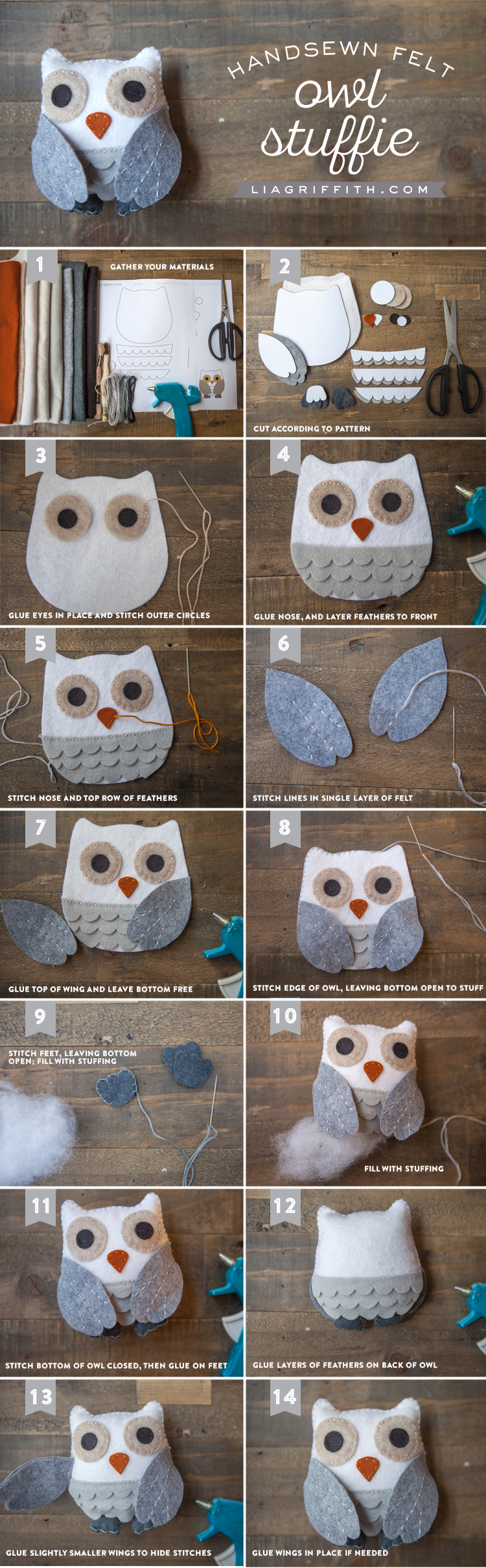 Photo tutorial for handsewn felt owl stuffie