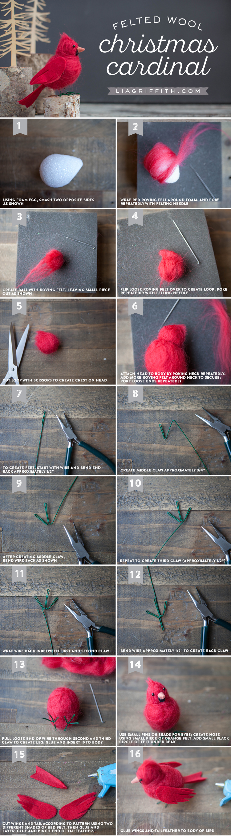 Photo tutorial for red felted cardinal bird by Lia Griffith