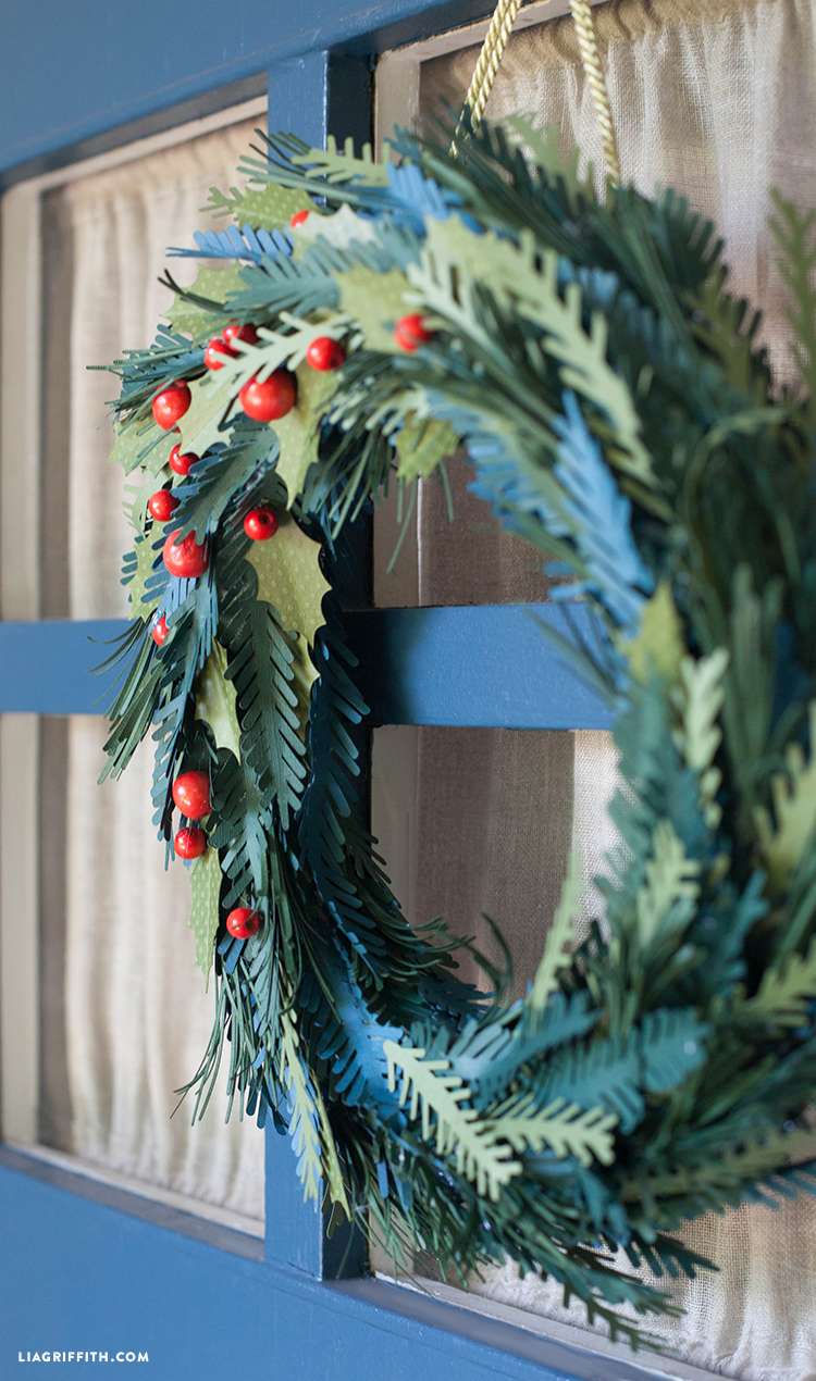 Paper Evergreen Holiday Wreath - Lia Griffith