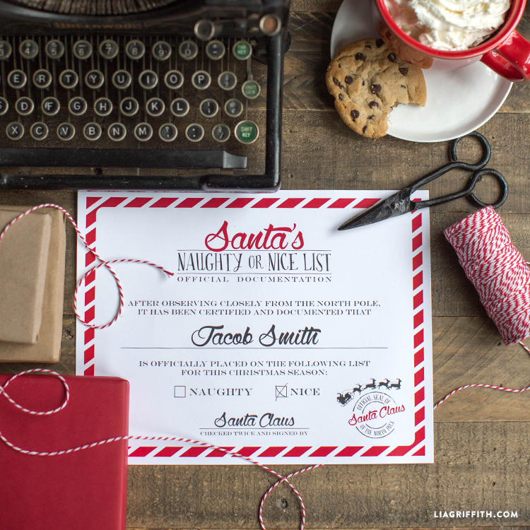 Naughty Or Nice Certificate From Santa Lia Griffith