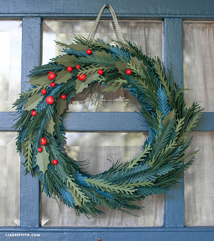 Paper Evergreen Holiday Wreath Lia Griffith