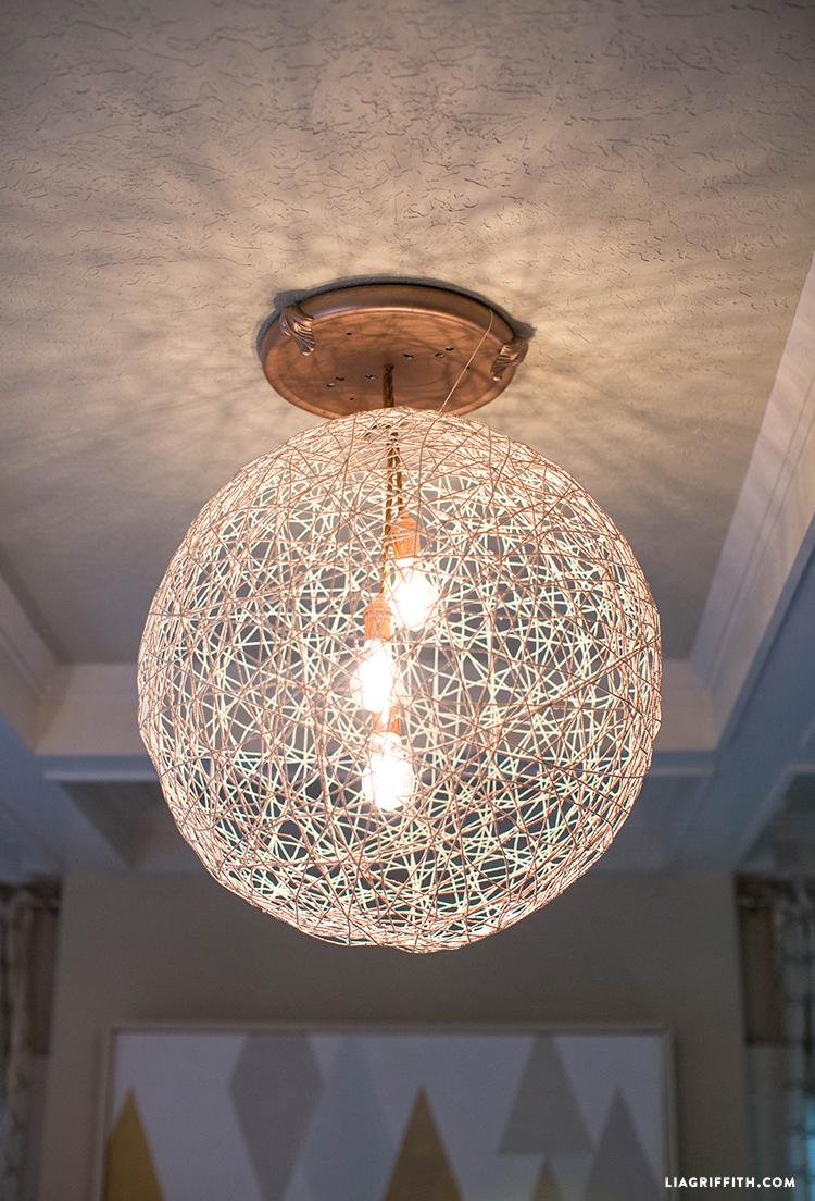 Yarn Lamp DIY White Scandinavian Christmas Livingroom Wreath Chandelier Side Table Mirror LivingRoom
