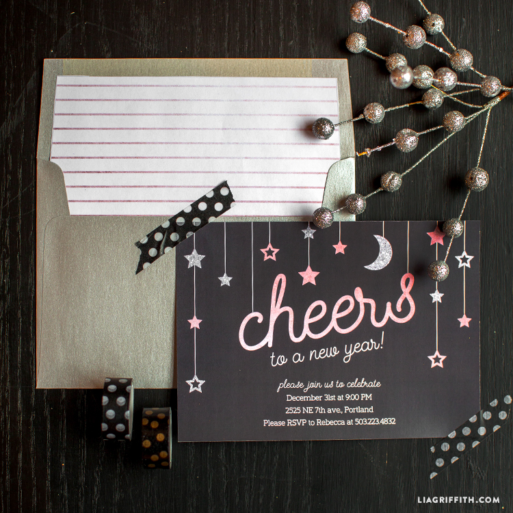 New Year\'s Eve Party Invitations for Teens - Lia Griffith