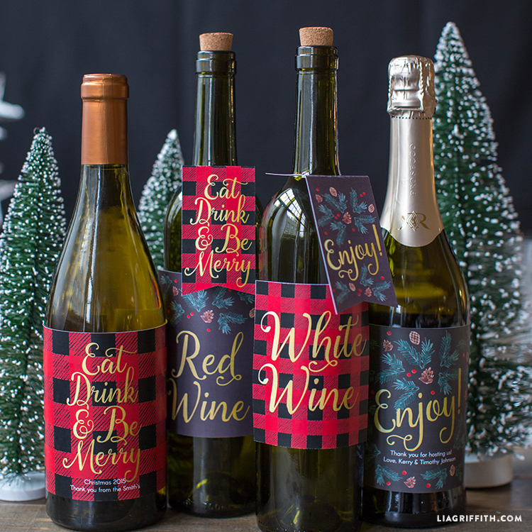 picture regarding Printable Beer Labels called Printable Xmas Wine Bottle Labels - Lia Griffith