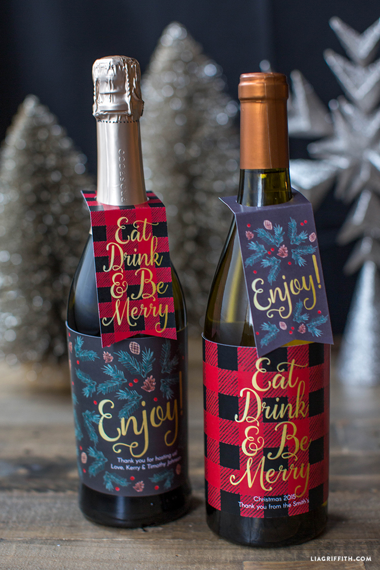 photo about Printable Wine Bottle Tags identify Printable Xmas Wine Bottle Labels - Lia Griffith