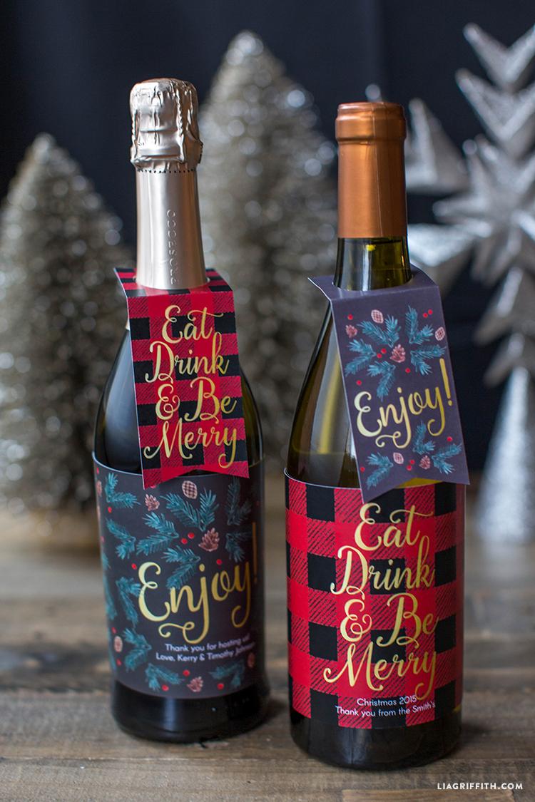 photo regarding Printable Wine Bottle Tags identify Printable Xmas Wine Bottle Labels - Lia Griffith