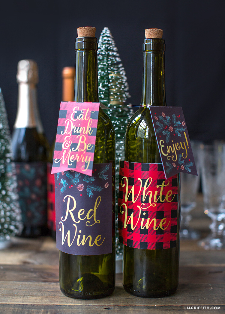 photo about Printable Wine Bottle Label known as Printable Xmas Wine Bottle Labels - Lia Griffith