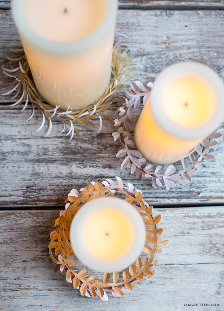 glitter paper candle wreaths