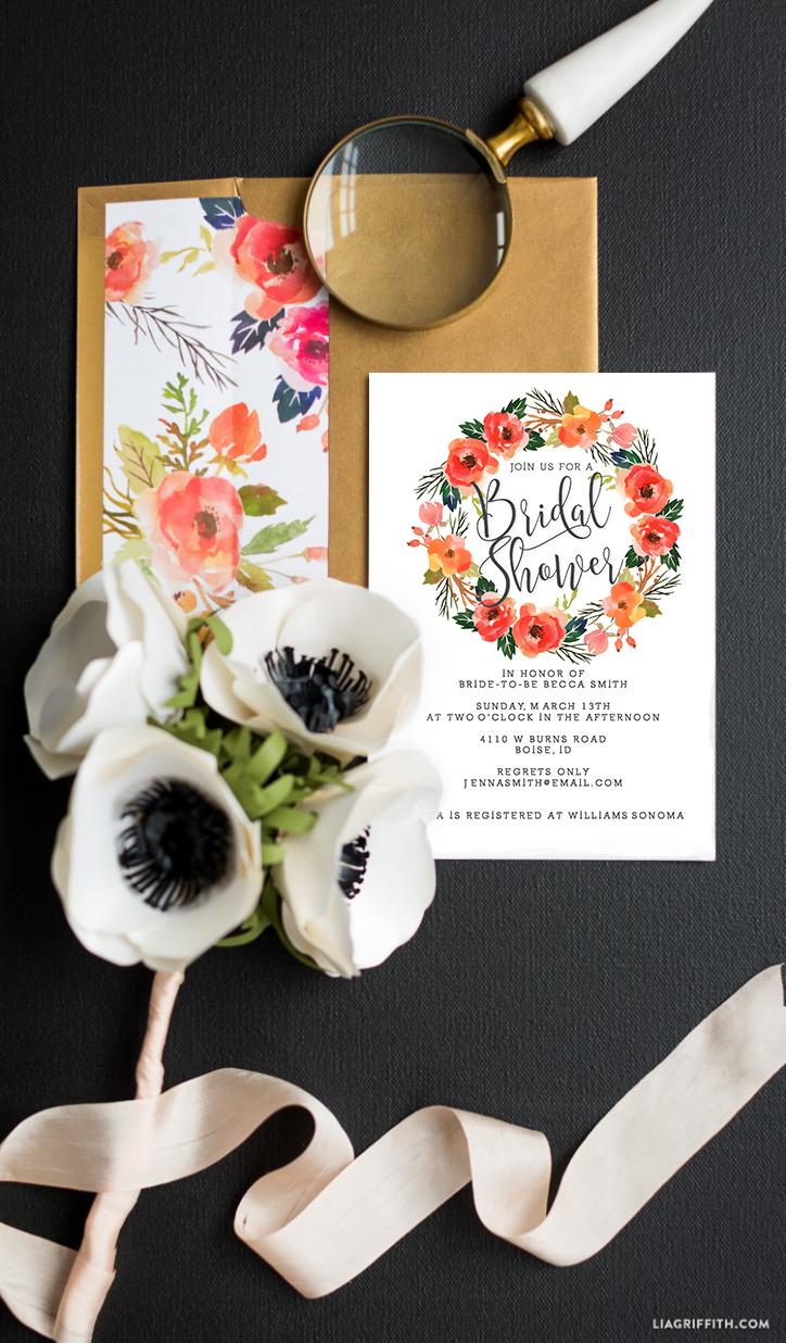 Watercolor Wreath Bridal Shower Invitations - Lia Griffith
