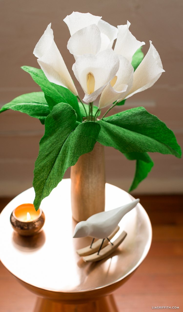 Crepe paper calla lily lia griffith not that we need a special occasion for our paper flowers we have enjoyed making a vase full of crepe paper calla lilies izmirmasajfo Image collections