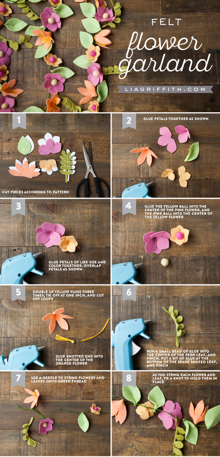 Felt flower garland lia griffith mightylinksfo