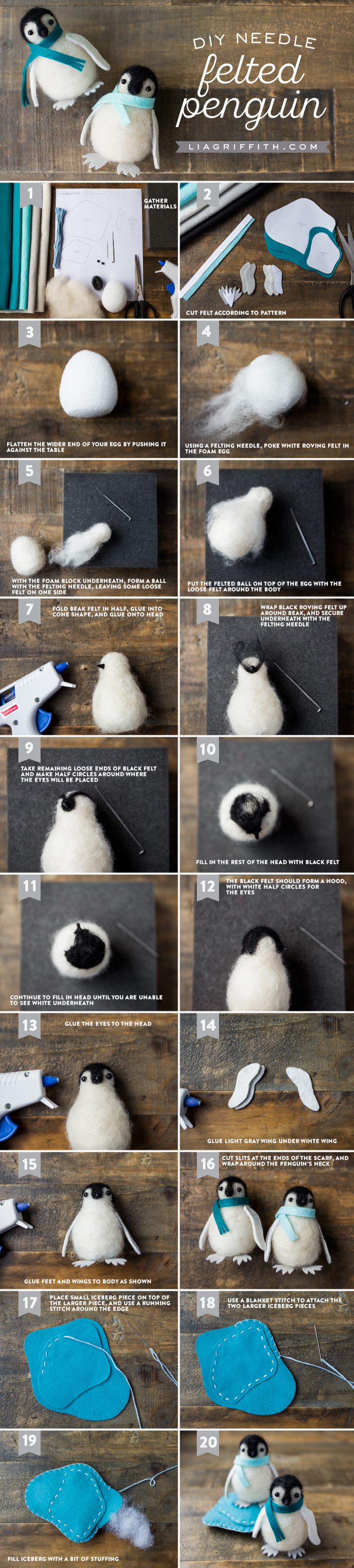 Photo tutorial for needle-felted penguin by Lia Griffith