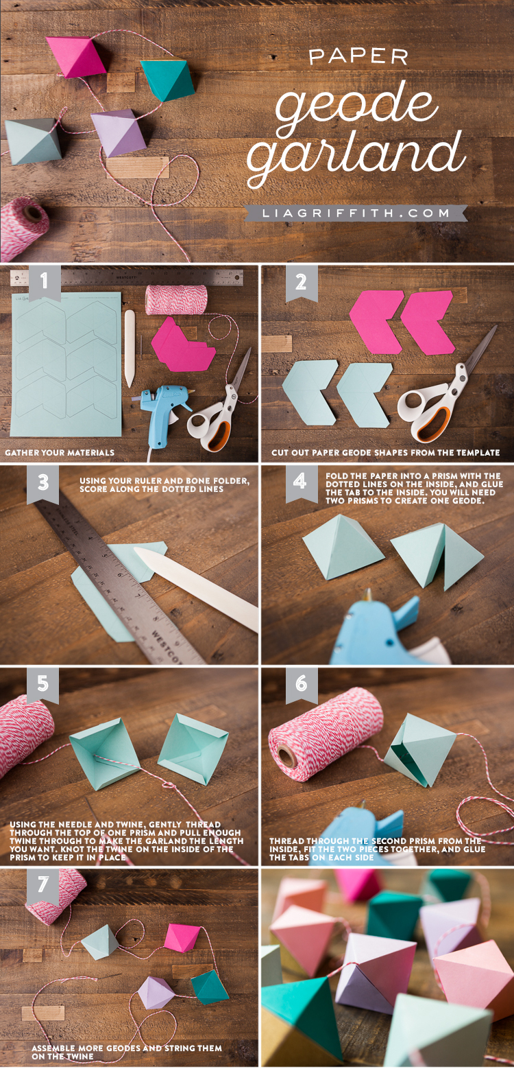 Diy Paper Geode Garland Lia Griffith