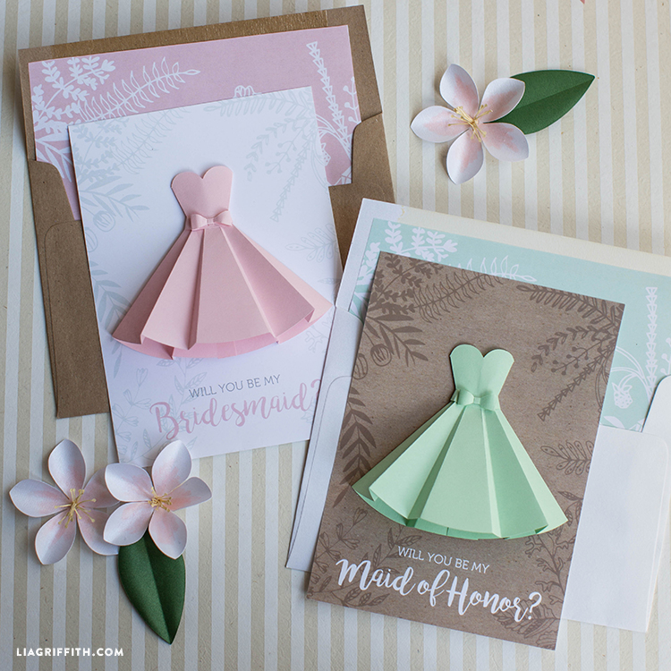 Wedding Gift Check Who To Make It Out To : Paper Dress Will You Be My Bridesmaid Cards - Lia Griffith