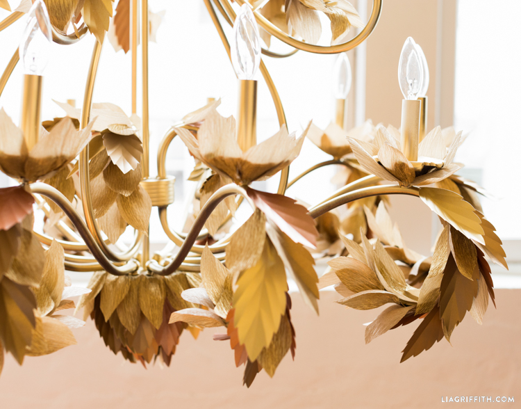 Upcycled Paper Leaf Diy Chandelier Lia Griffith